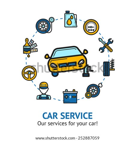 Car service concept with auto repair and maintenance decorative icons set vector illustration - stock vector