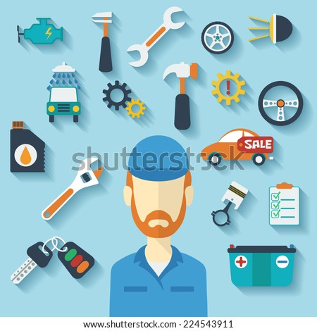 Car service concept with flat icons and mechanic. Vector illustration - stock vector