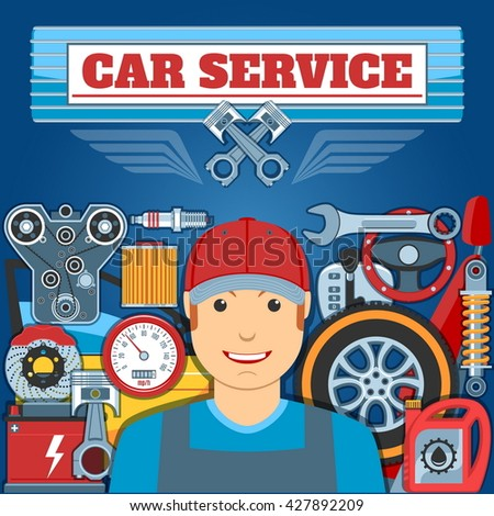 Car Service Concept With Mechanic And Auto Parts. Vector illustration - stock vector