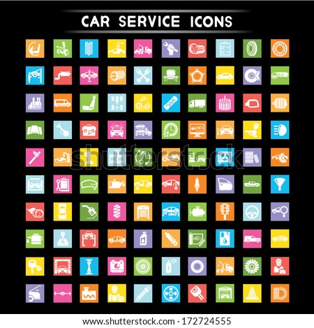 car service i cons, flat icons set - stock vector