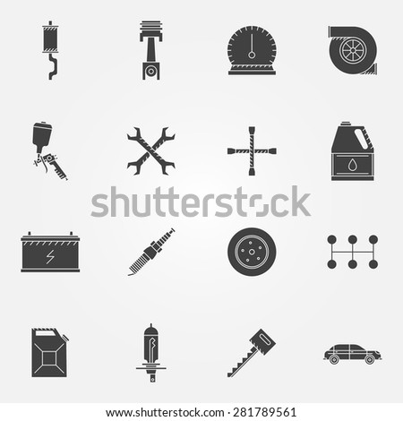 Car service icon black set - vector car repair symbols