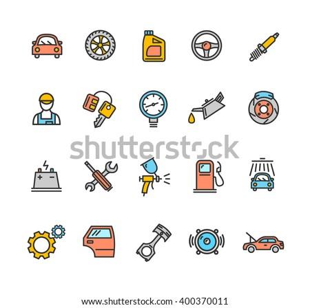 Car Service Icon Color Set. Vector illustration - stock vector