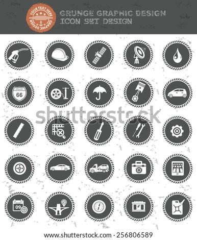 Car service icon set,black button,clean vector - stock vector
