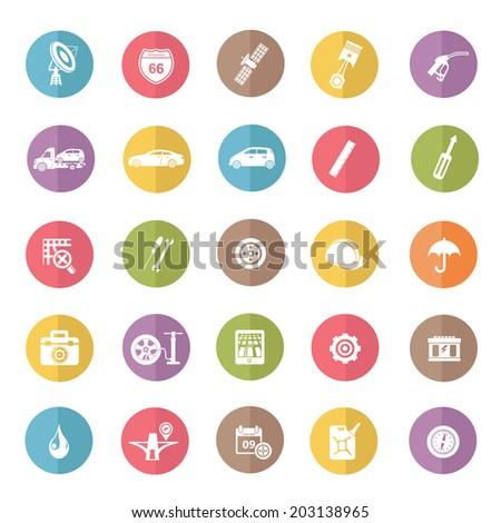 Car Service icon set,color vector - stock vector