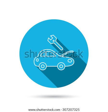 Car service icon. Transport repair with wrench key sign. Blue flat circle button with shadow. Vector - stock vector