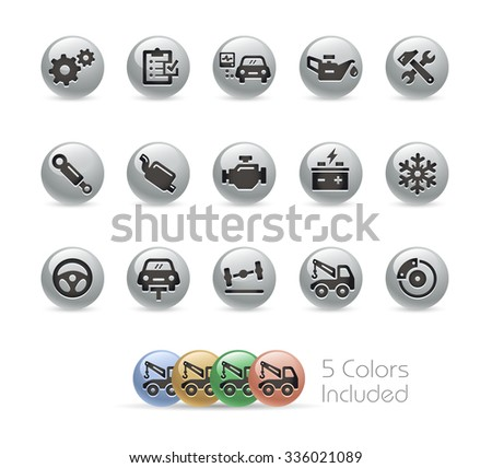 Car Service Icons // Metal Round Series -- The vector file includes 5 color versions for each icon in different layers. - stock vector