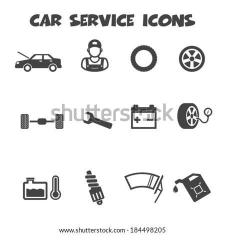 car service icons, mono vector symbols - stock vector