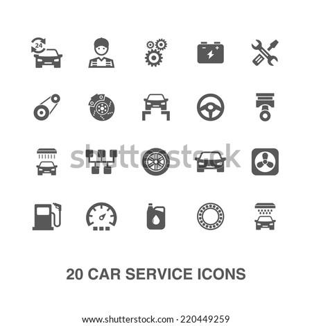 Car service icons set. - stock vector