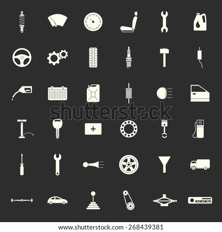 Car service icons set, car parts set. Vector EPS8 illustration.