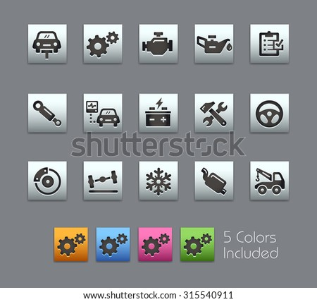 Car Service Icons  The vector file includes 5 color versions for each icon in different layers ---- - stock vector