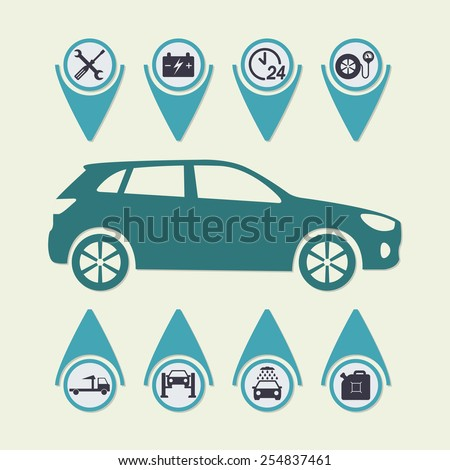 Car service Infographics. Auto service and repair icons. Vector illustration.  - stock vector