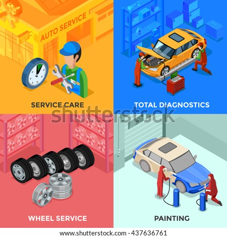 Car service isometric 2x2 design concept with total diagnostic wheel service and painting compositions vector illustration  - stock vector