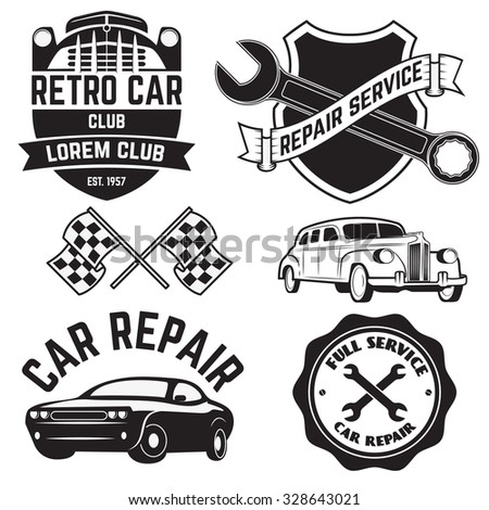 car service labels. Set of design elements in vector - stock vector