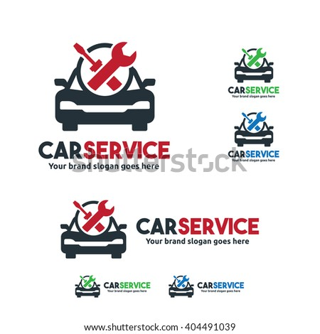 Car Service Logo, Car fix with Wrench and screw driver symbol - stock vector