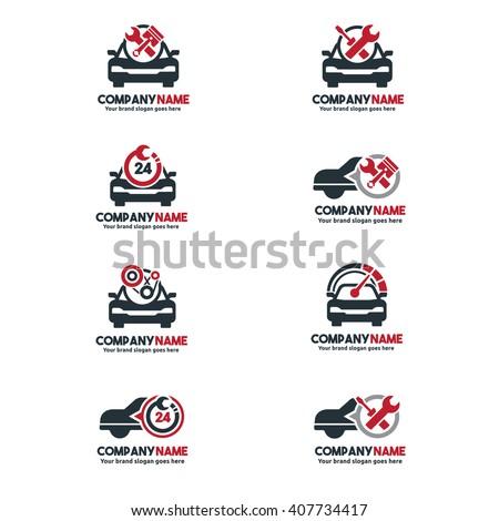 Car Service Logo Set Vehicle Repair Stock Vector - Car sign and name