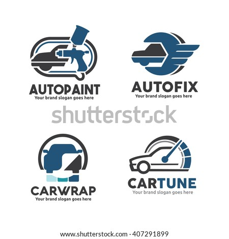 Car Service logo Template Set, Car Paint Logo, Car service Logo, Car Sticker Wrap Logo,Car performance upgrade Logo - stock vector