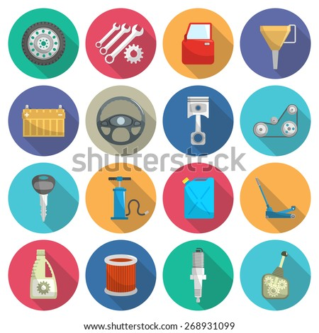 Car service maintenance flat icon set isolated vector illustration - stock vector
