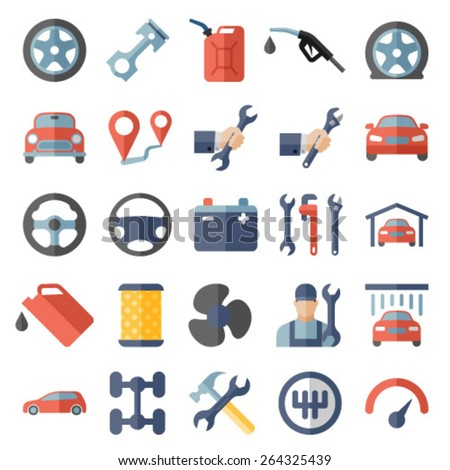 Car service maintenance flat icons set - stock vector