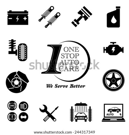 Car service maintenance icon set (One Stop Auto Care) illustration, easy to modify - stock vector