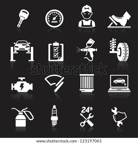 Car service maintenance icon set2. Vector illustration. More icons in my portfolio. - stock vector