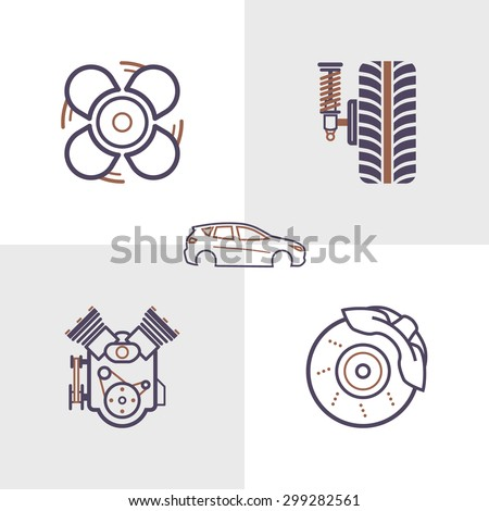 Car service maintenance outlines icon set1. Vector illustration. Cooling, Springs, Engine, Brakes and Car Body icons. - stock vector