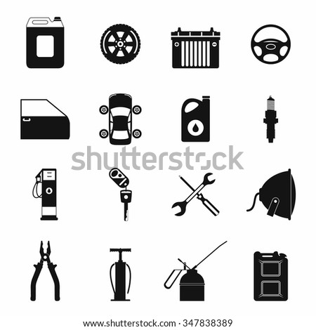 Car service maintenance simple icons set isolated on white background - stock vector