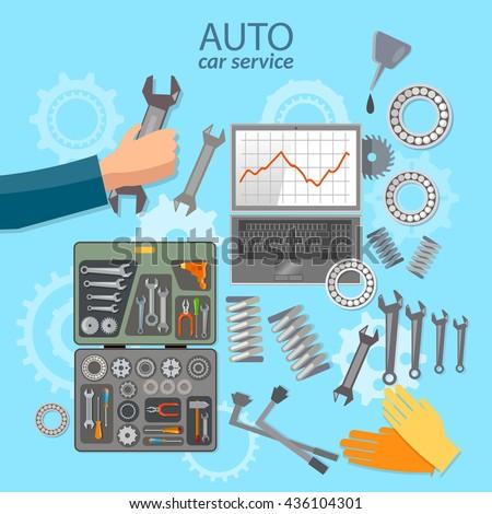 Car service mechanic tool box professional auto repair auto service center vector illustration - stock vector