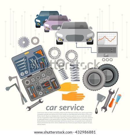 Car service mechanic tools vehicle diagnostics replacement tires change oil vector illustration - stock vector