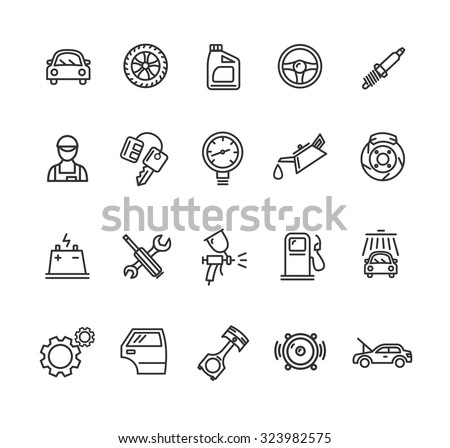 Car Service Outline Icons Set. Vector illustration - stock vector
