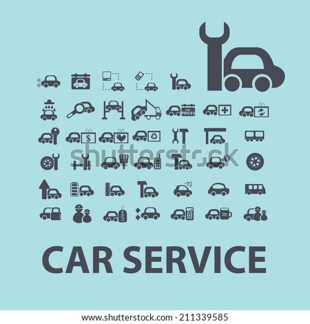car service, repair black icons, signs, silhouettes, illustrations set. vector  - stock vector