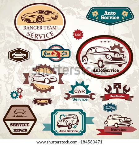 car service retro emblem, collection of vintage vector labels - stock vector