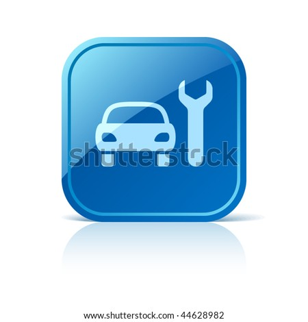 Car service sign. Auto repair icon on blue glossy square web button. Vector automotive symbol of vehicle and spanner