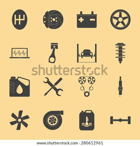 Car service silhouette icons set graphic illustration design - stock vector