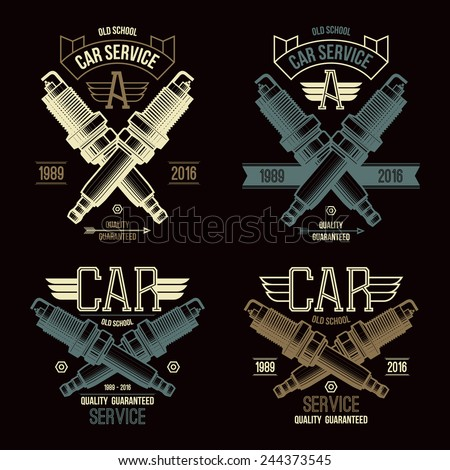 Car service spark-plug emblems in retro style. Graphic design for t-shirt. Color print on a black background - stock vector