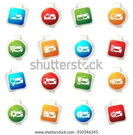 Car Service Stickers Label Icon Set Stock Vector 350346137