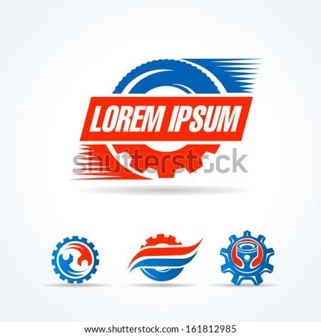 car service symbol emblem sign set - stock vector
