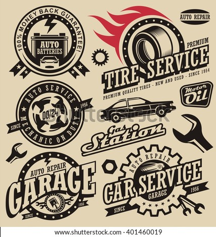 Car service symbols. Auto and engine parts. Retro vector car icons collection. Vintage style labels and badges set. Logo design concept for garage. - stock vector