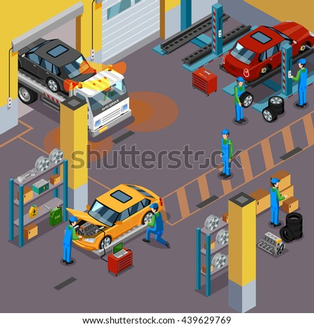 Car service top view isometric concept with workers repairing automobiles in vehicle service center vector illustration  - stock vector