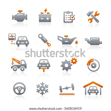 Car Service Vector Icons // Graphite Series - stock vector