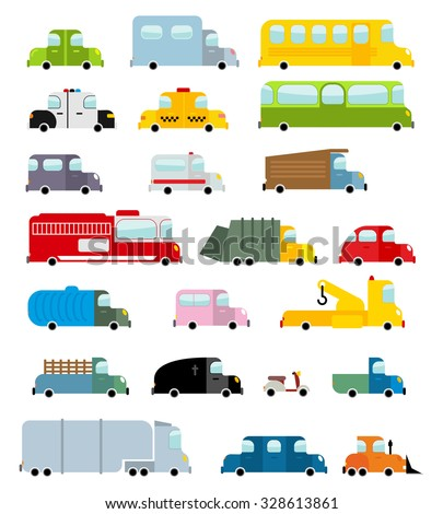 Car set cartoon style. Big transport icons collection. Ground set vehicles. Ambulance and school bus. Scooter and fire truck. Police car and a hearse. Childrens vehicles - stock vector