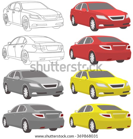 car set illustration two view - stock vector