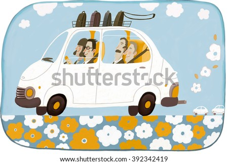 Car sharing - an illustration of four businesspeople office workers eco friendly sharing one car on their road to the office. - stock vector