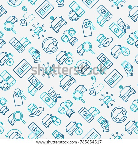 car sharing seamless pattern thin line stock vector royalty free
