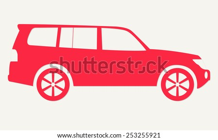 Car silhouette. Red icon of suv. Off road vehicle. Vector illustration. - stock vector