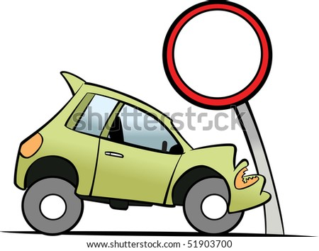 Car smashes up a traffic sign - stock vector
