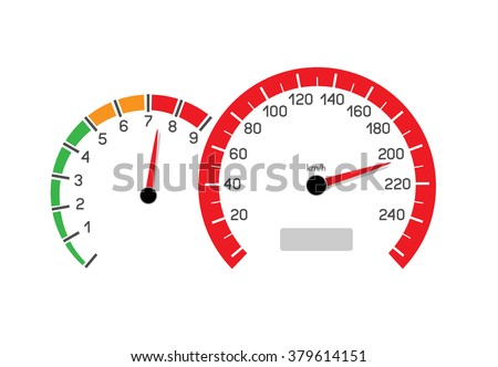 Car speeding limit illustration isolated on white background. Speedometer and rev counter shows the speed limit - stock vector