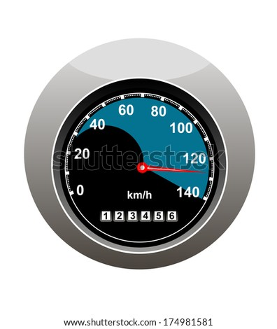 Car speedometer showing someone speeding at 130 kilometers per hour and a high mileage over 123000 kilometers, isolated on white - stock vector