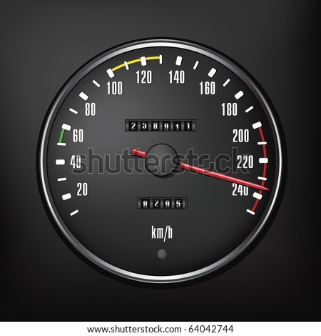 Car speedometer. Vector illustration of the speedometer isolated on black background. speedometer image for a car race poster. - stock vector