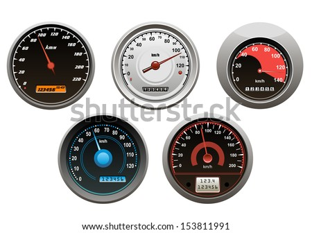 Car speedometers set isolated on white background for design or idea of logo. Jpeg version also available in gallery - stock vector