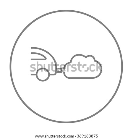Car spewing polluting exhaust line icon. - stock vector